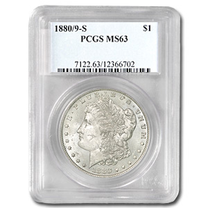 1880/9-S Morgan Dollar MS-63 PCGS (VAM-11, 0/9 Overdate Hot-50