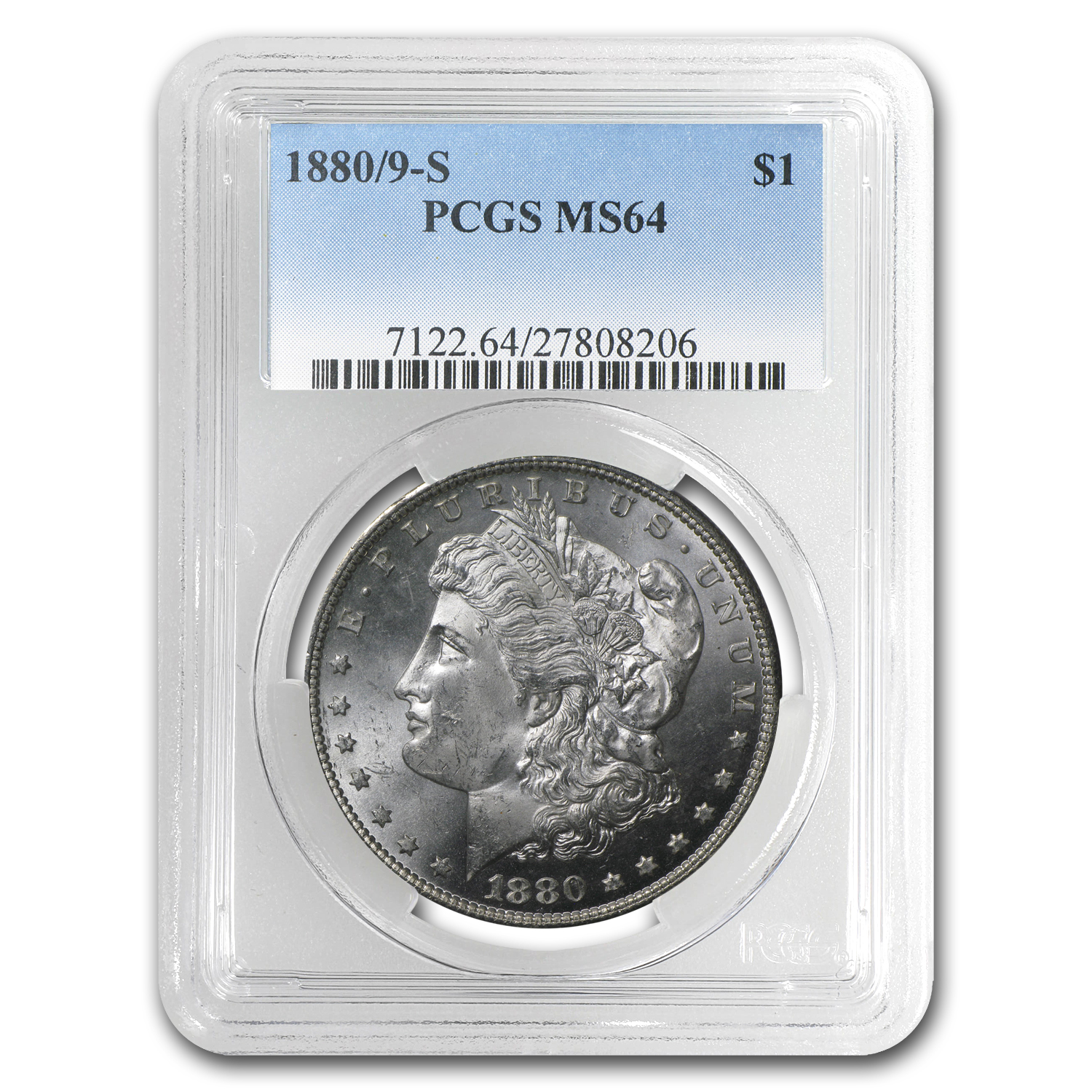1880/9-S Morgan Dollar MS-64 PCGS (VAM-11, 0/9 Overdate Hot-50)