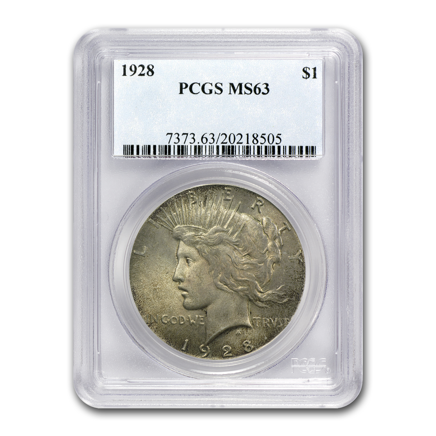 1928 Peace Dollar MS-63 PCGS (Key Date, Toned)