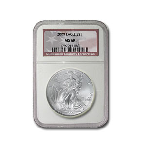 2000 Silver American Eagle - MS-69 NGC - American Flag Label