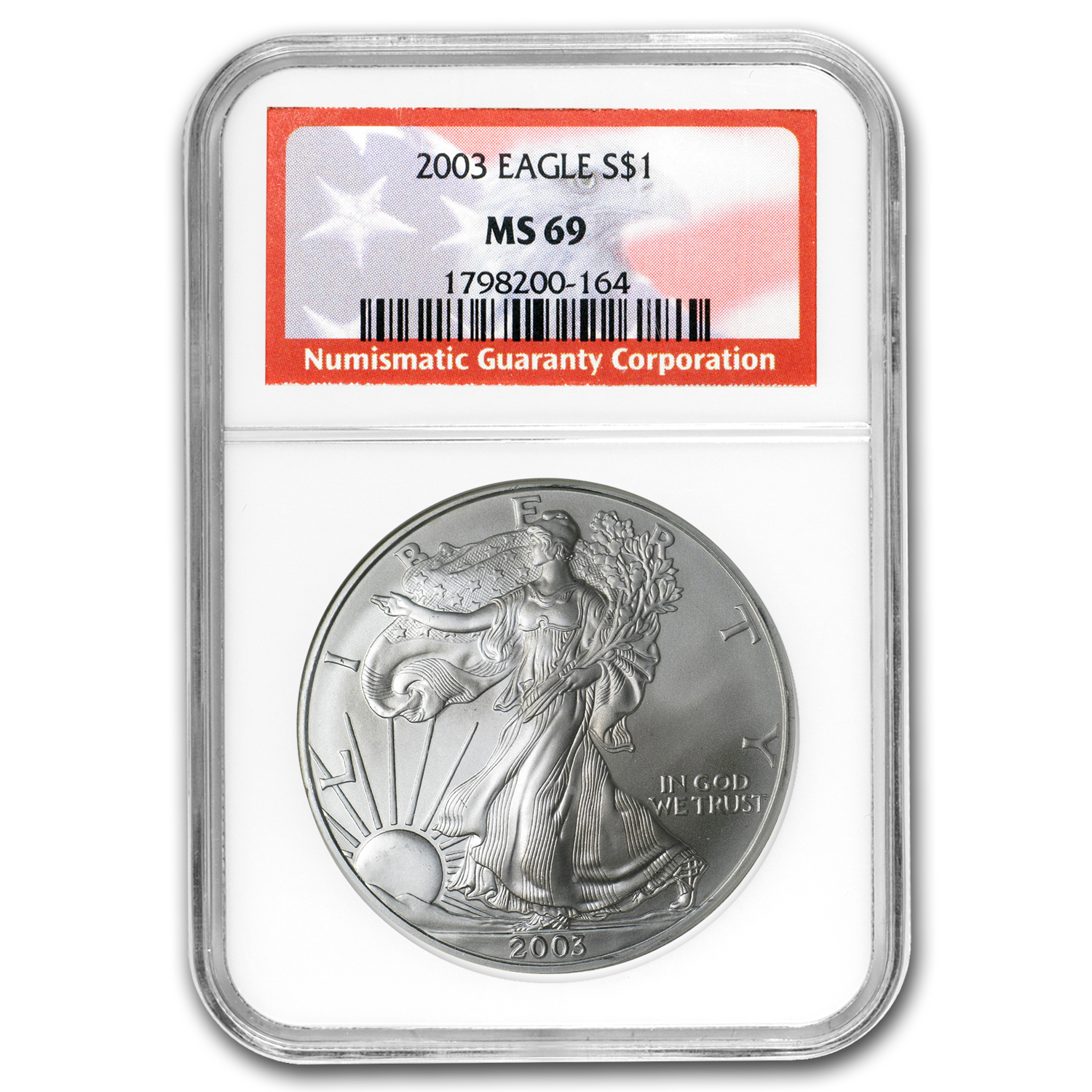 2003 Silver American Eagle MS-69 NGC (American Flag Label)