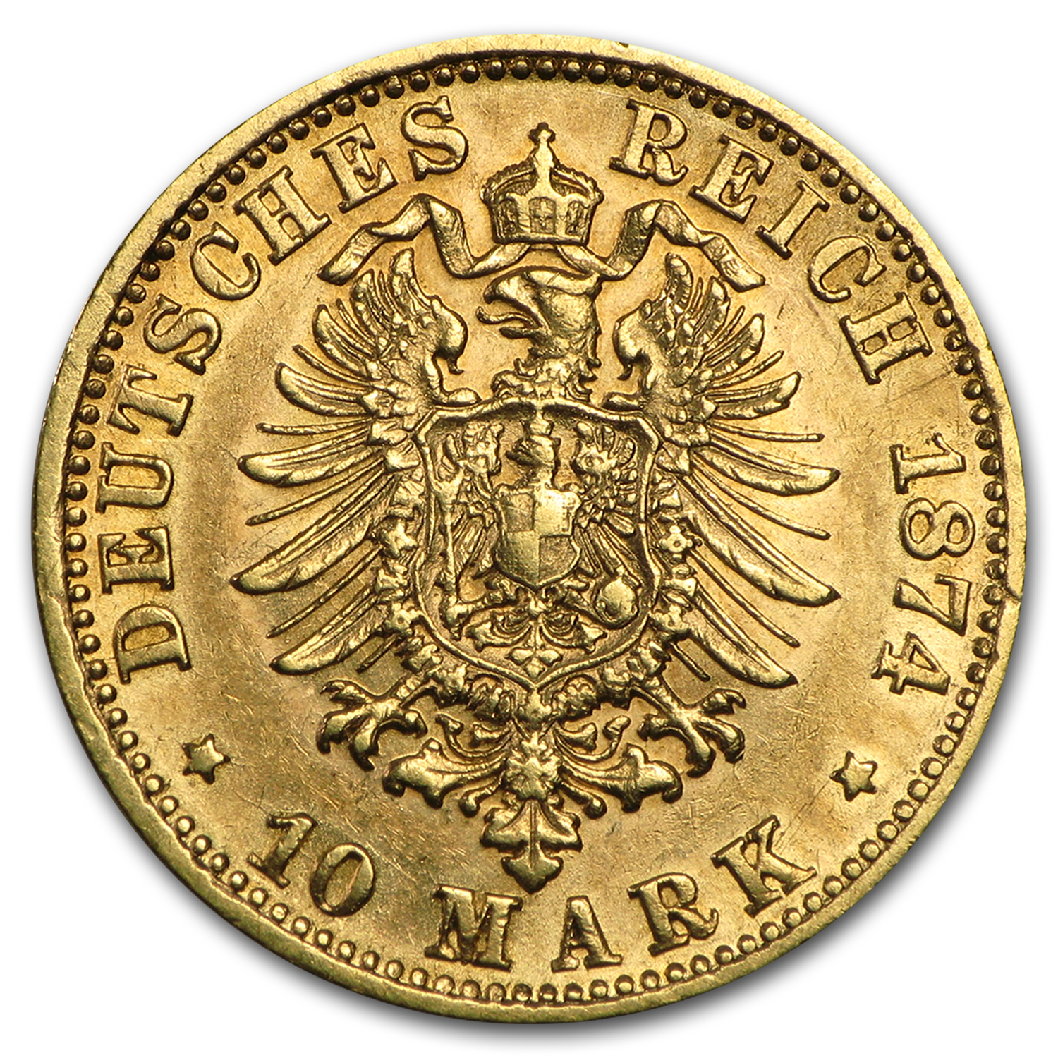 1872-1881 Germany Gold 10 Mark Bavaria Ludwig II Avg Circ