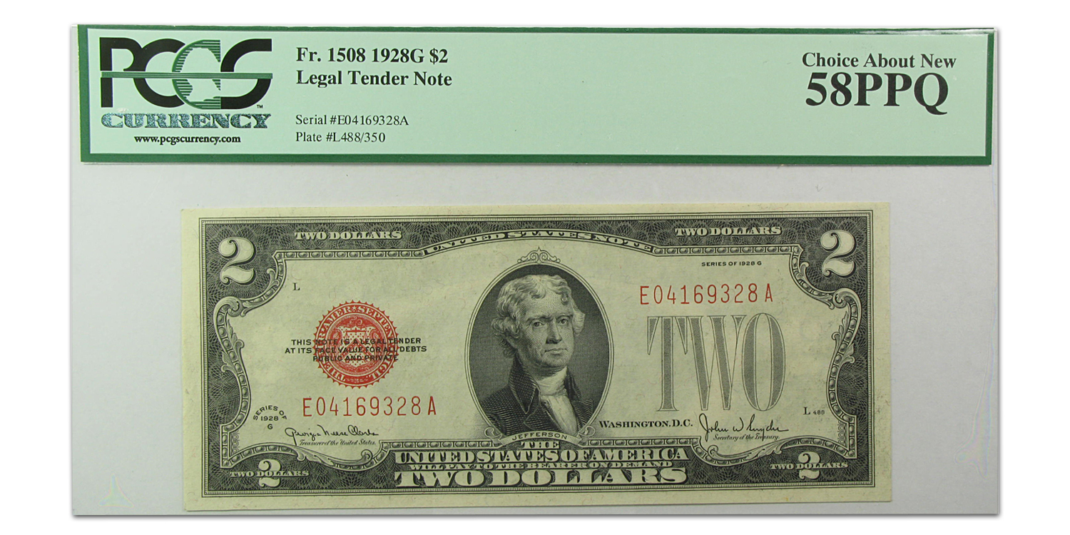 1928-G $2.00 U.S. Note Red Seal Choice Abt New-58 PPQ PCGS