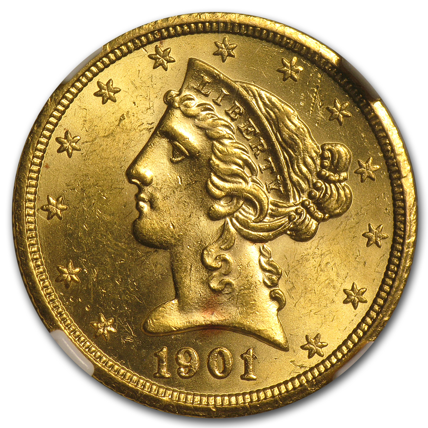 1901/0-S $5 Liberty Gold Half Eagle - MS-63 NGC - (FS-006)