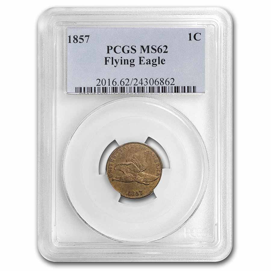 1857 Flying Eagle Cent MS-62 PCGS