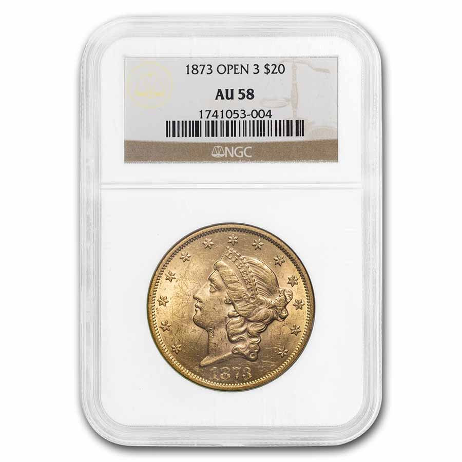 1873 $20 Gold Liberty Double Eagle - (Open 3) - AU-58 NGC