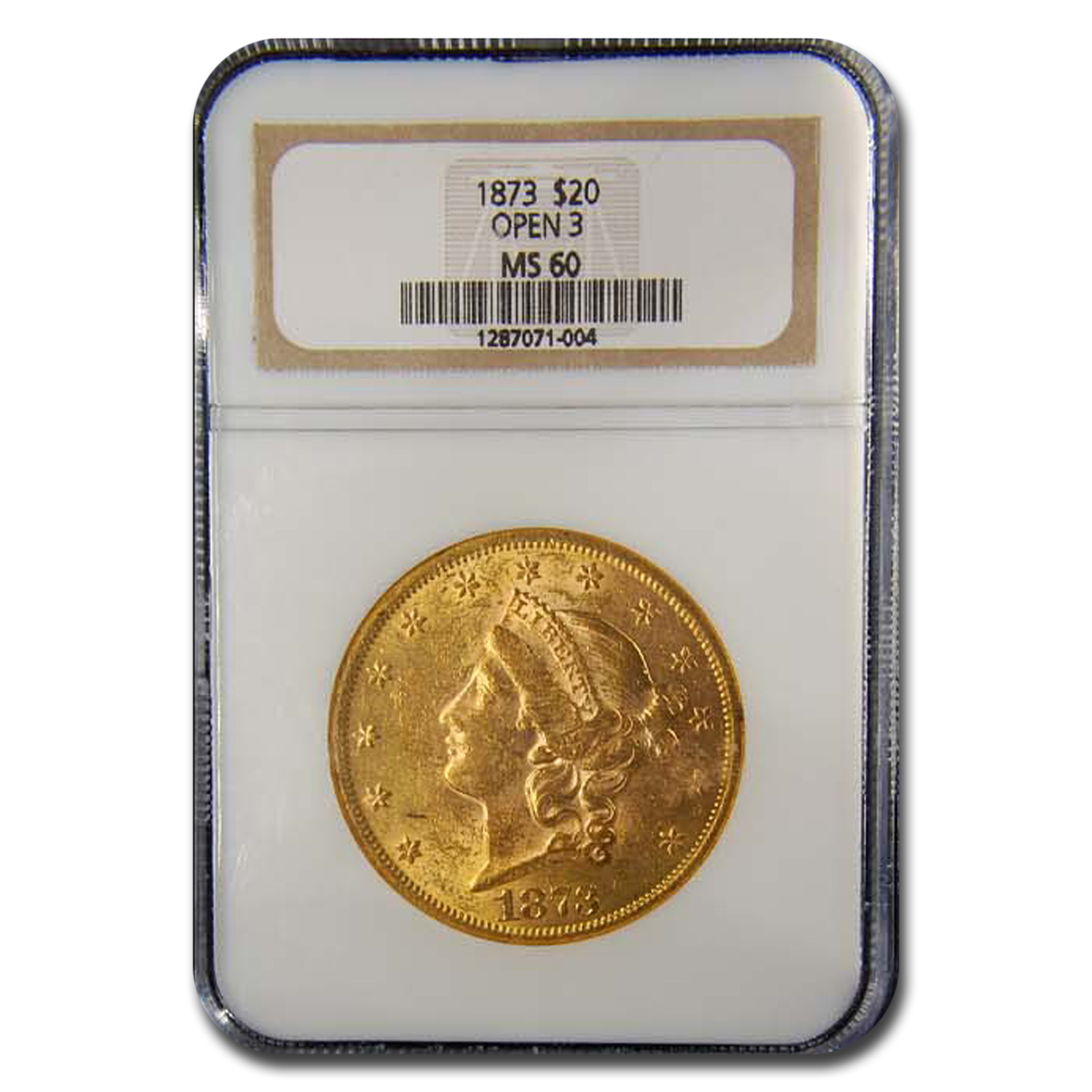 1873 $20 Liberty Gold Double Eagle Open 3 MS-60 NGC