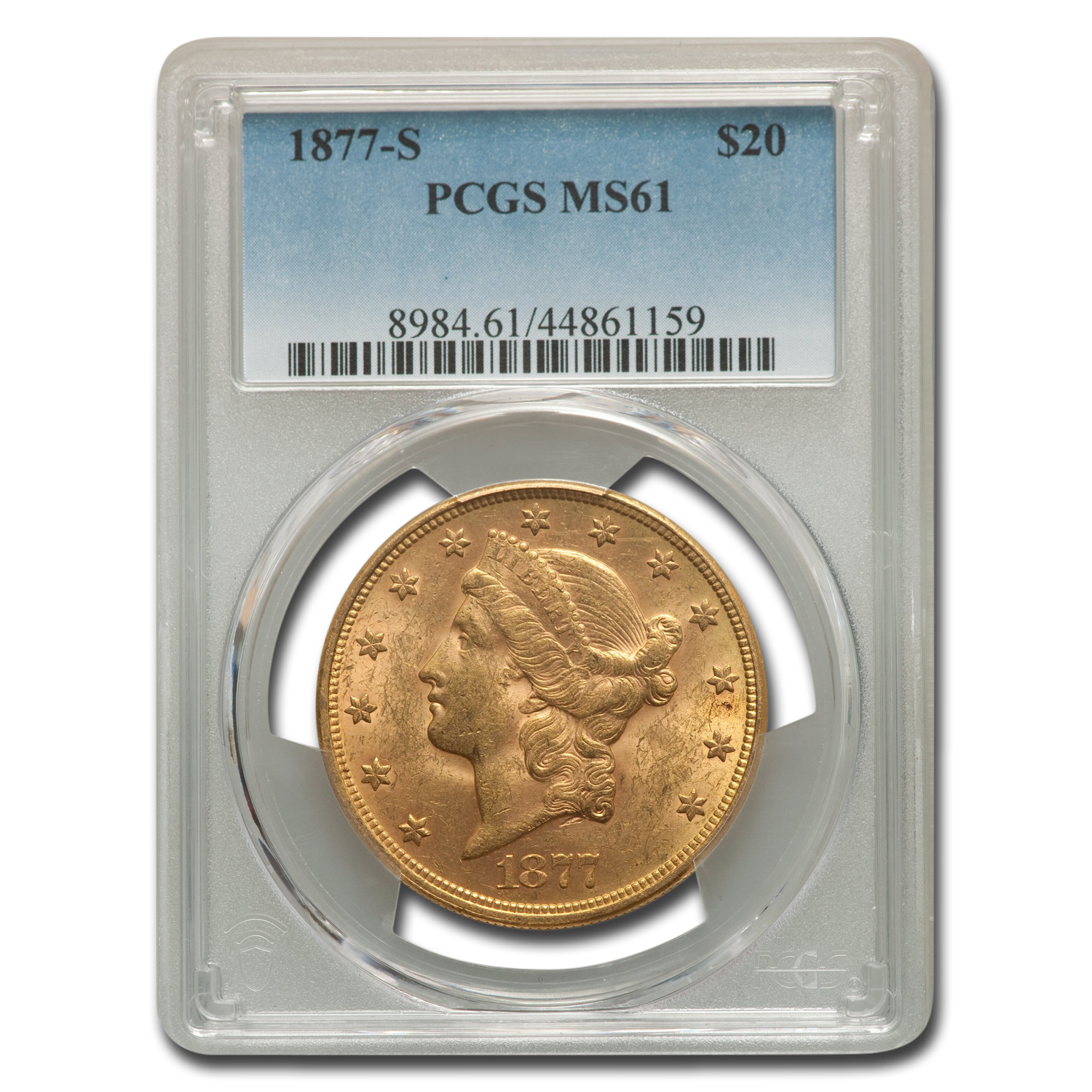 1877-S $20 Gold Liberty Double Eagle - MS-61 PCGS