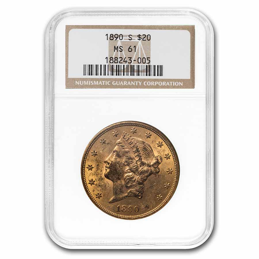 1890-S $20 Gold Liberty Double Eagle - MS-61 NGC