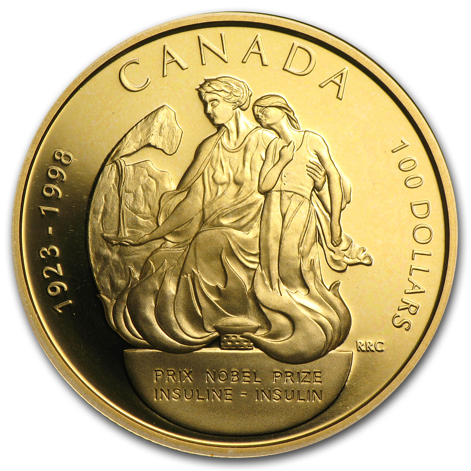 1998 1/4 oz Gold Canadian $100 Nobel Prize Insulin Proof