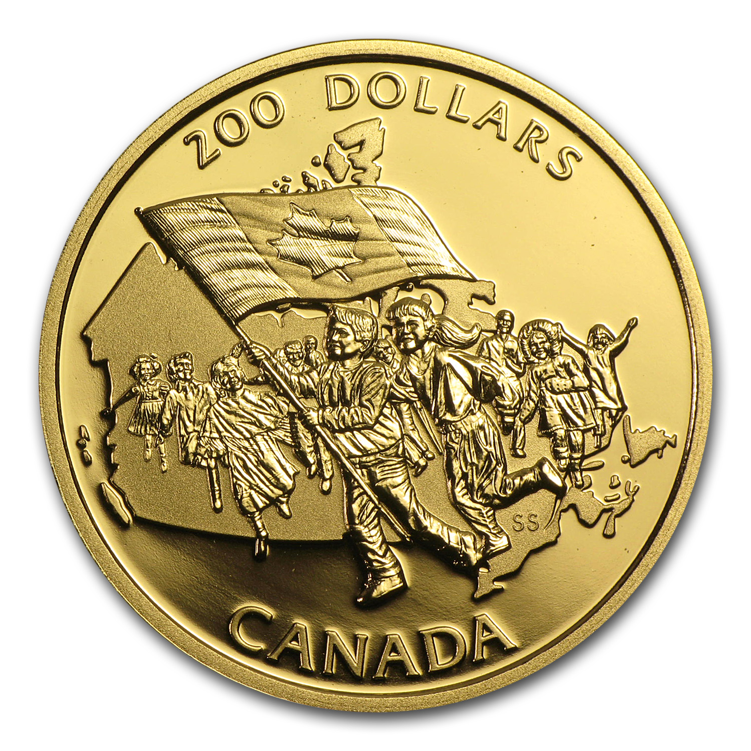 1990 1/2 oz Gold Canadian $200 Proof - Canadian Flag