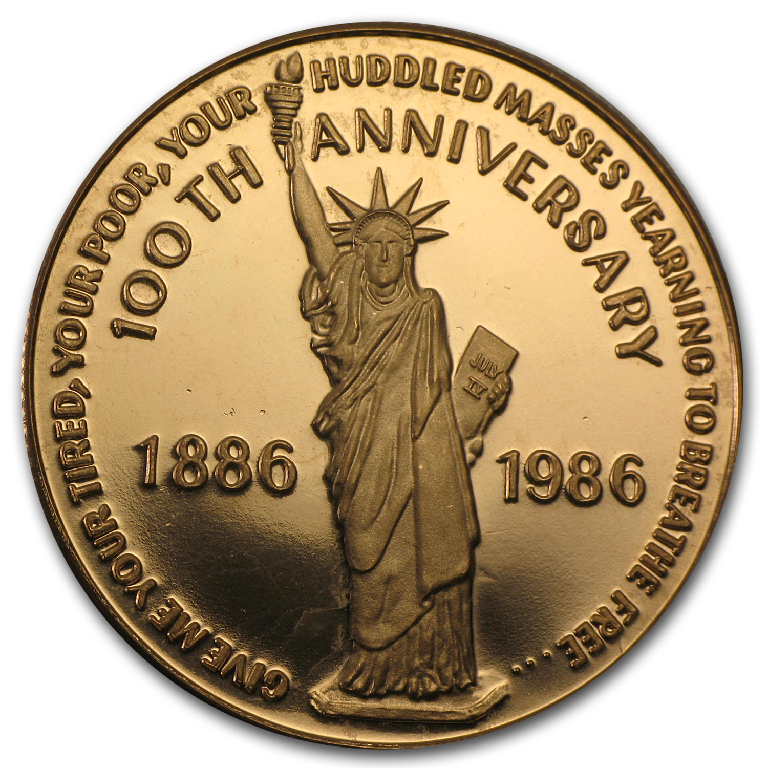 1 oz Gold Round - 100th Anniv Statue of Liberty (.500 Fine)