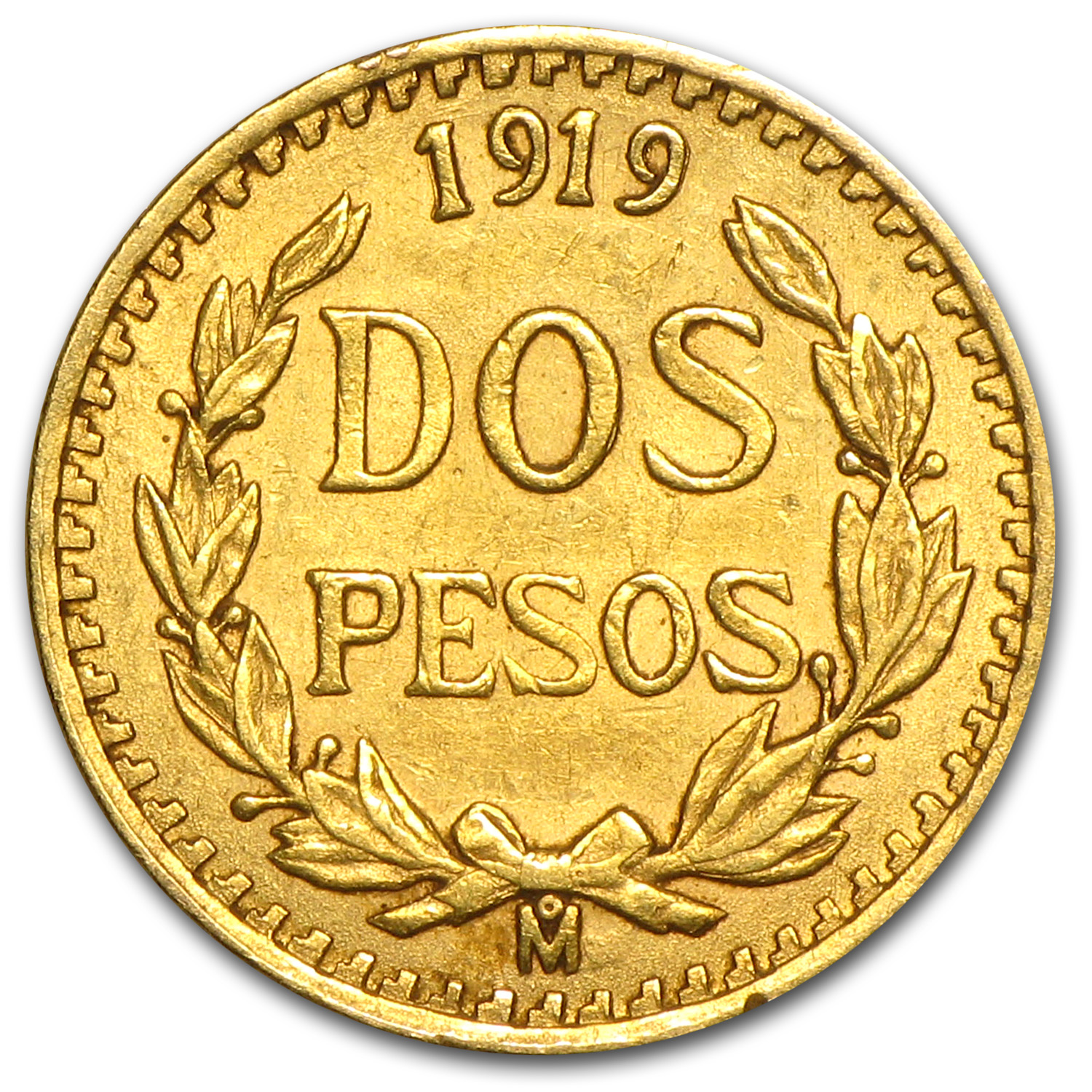 1919 Mexico Gold 2 Pesos Almost Uncirculated