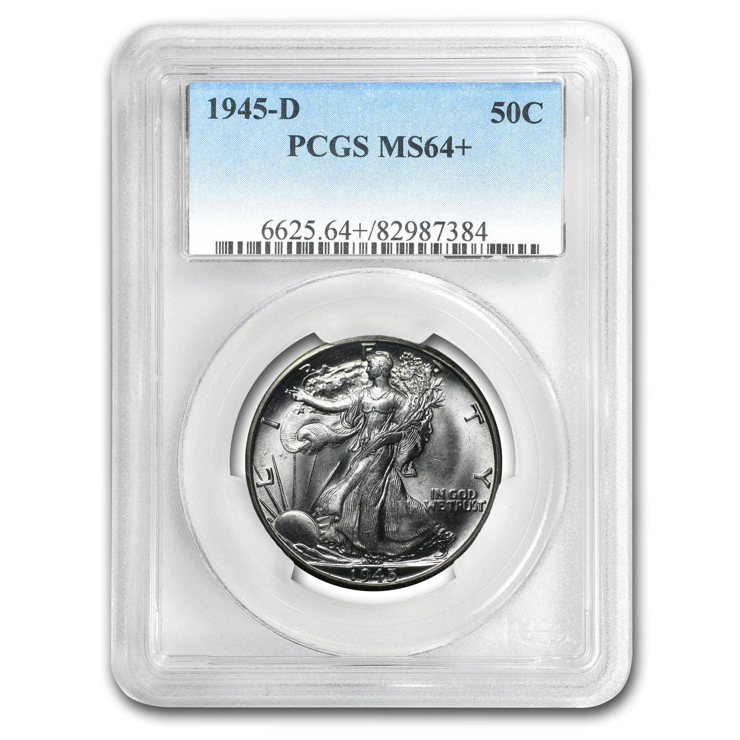 1945-D Walking Liberty Half Dollar MS-64 PCGS