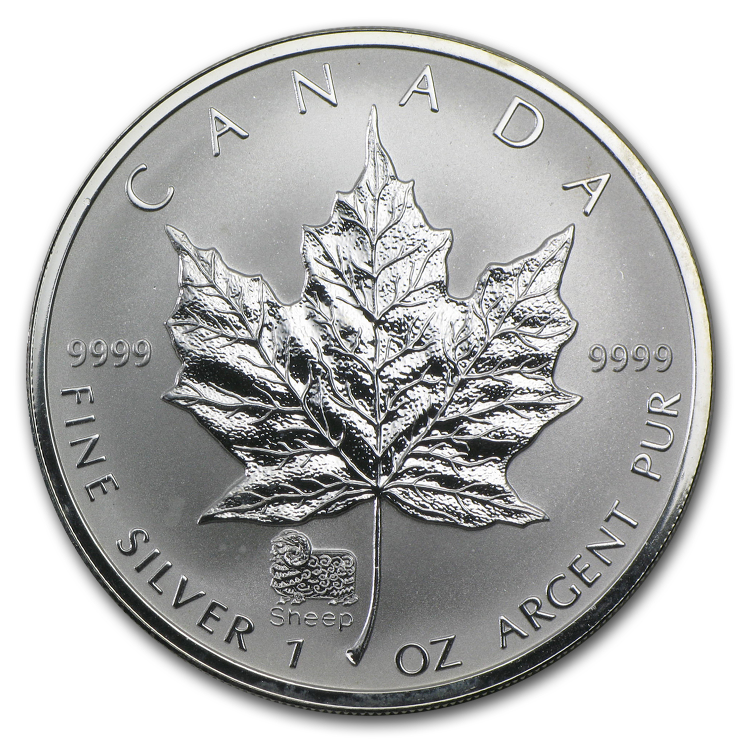 2003 Canada 1 oz Silver Maple Leaf Lunar Sheep Privy