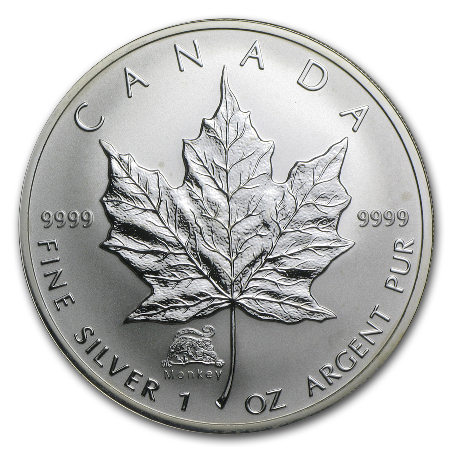 2004 1 oz Silver Canadian Maple Leaf - Lunar MONKEY Privy