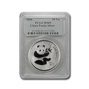 2000 China 1 oz Silver Panda MS-69 PCGS (Frosted)