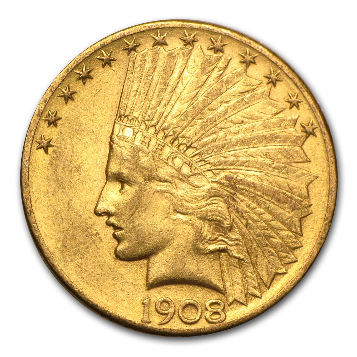 1908-D $10 Indian Gold Eagle w/Motto AU