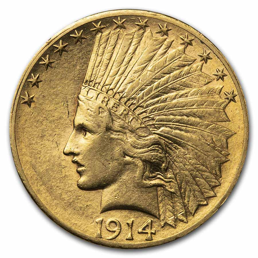 1914-S $10 Indian Gold Eagle Almost Uncirculated