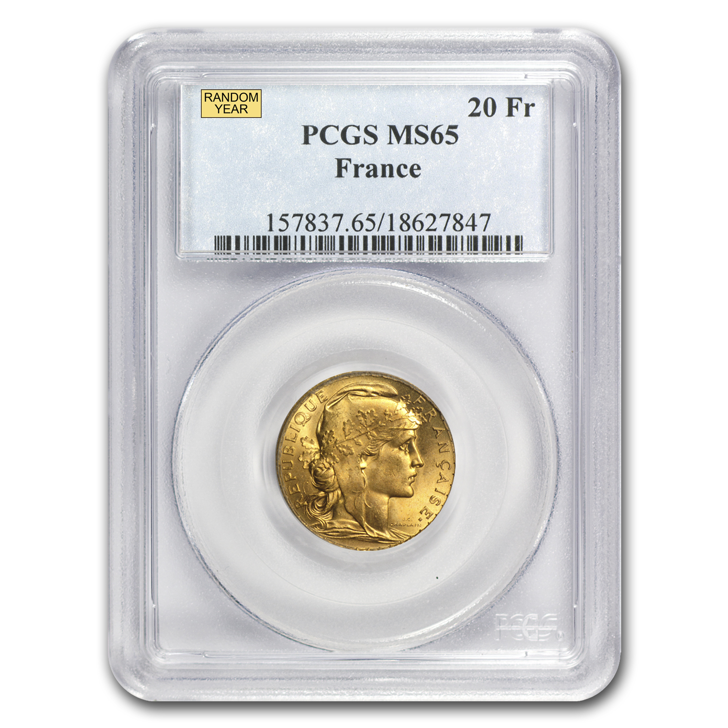1899-1914 France Gold 20 Francs Rooster MS-65 NGC/PCGS