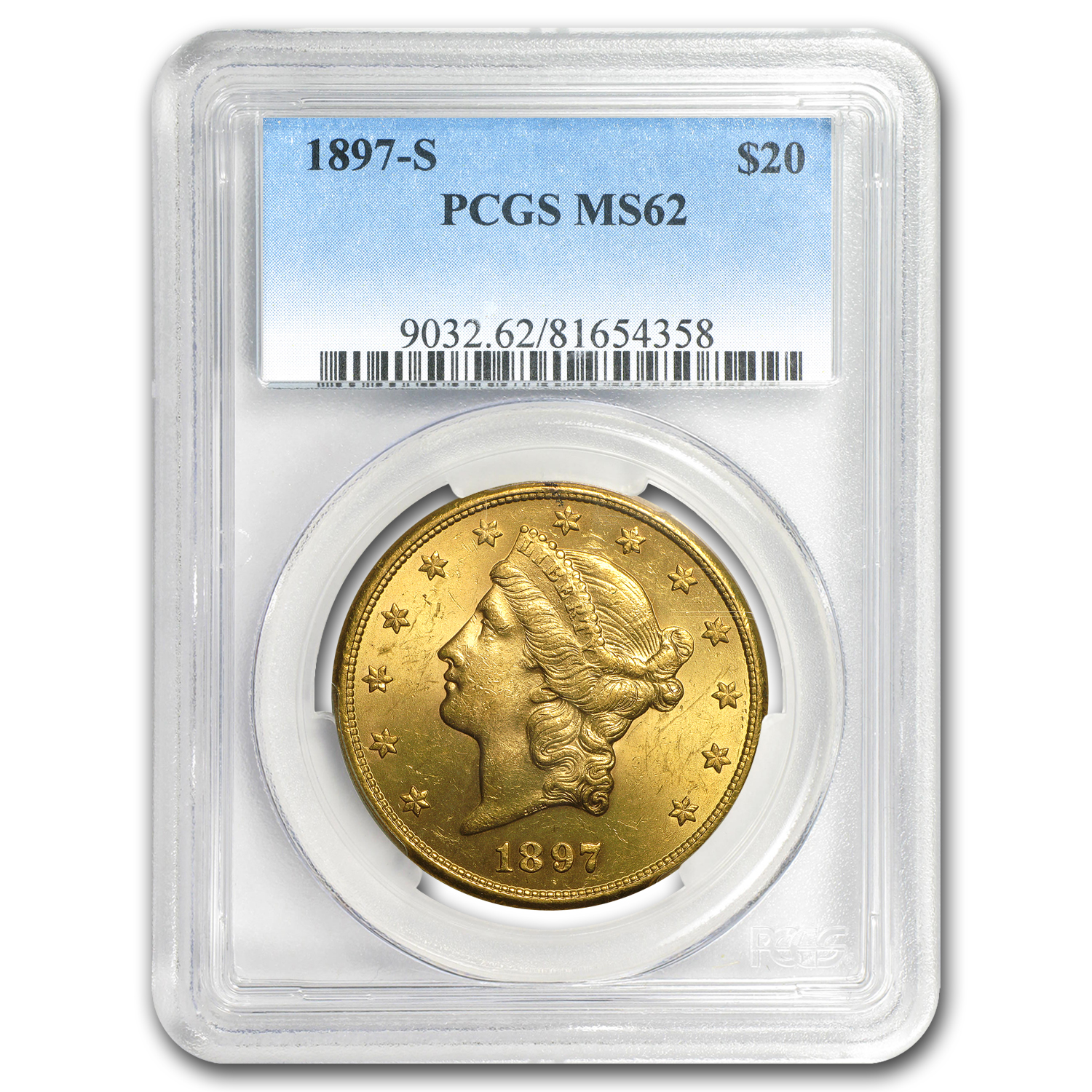 1897-S $20 Liberty Gold Double Eagle MS-62 PCGS