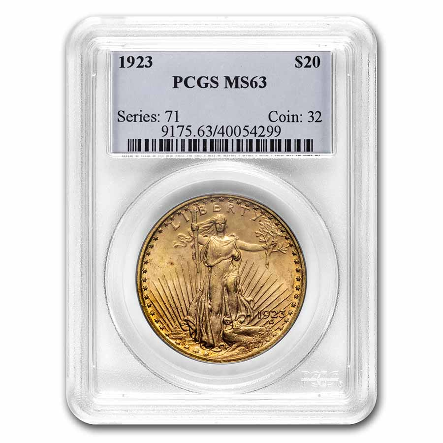 1923 $20 St. Gaudens Gold Double Eagle - MS-63 PCGS