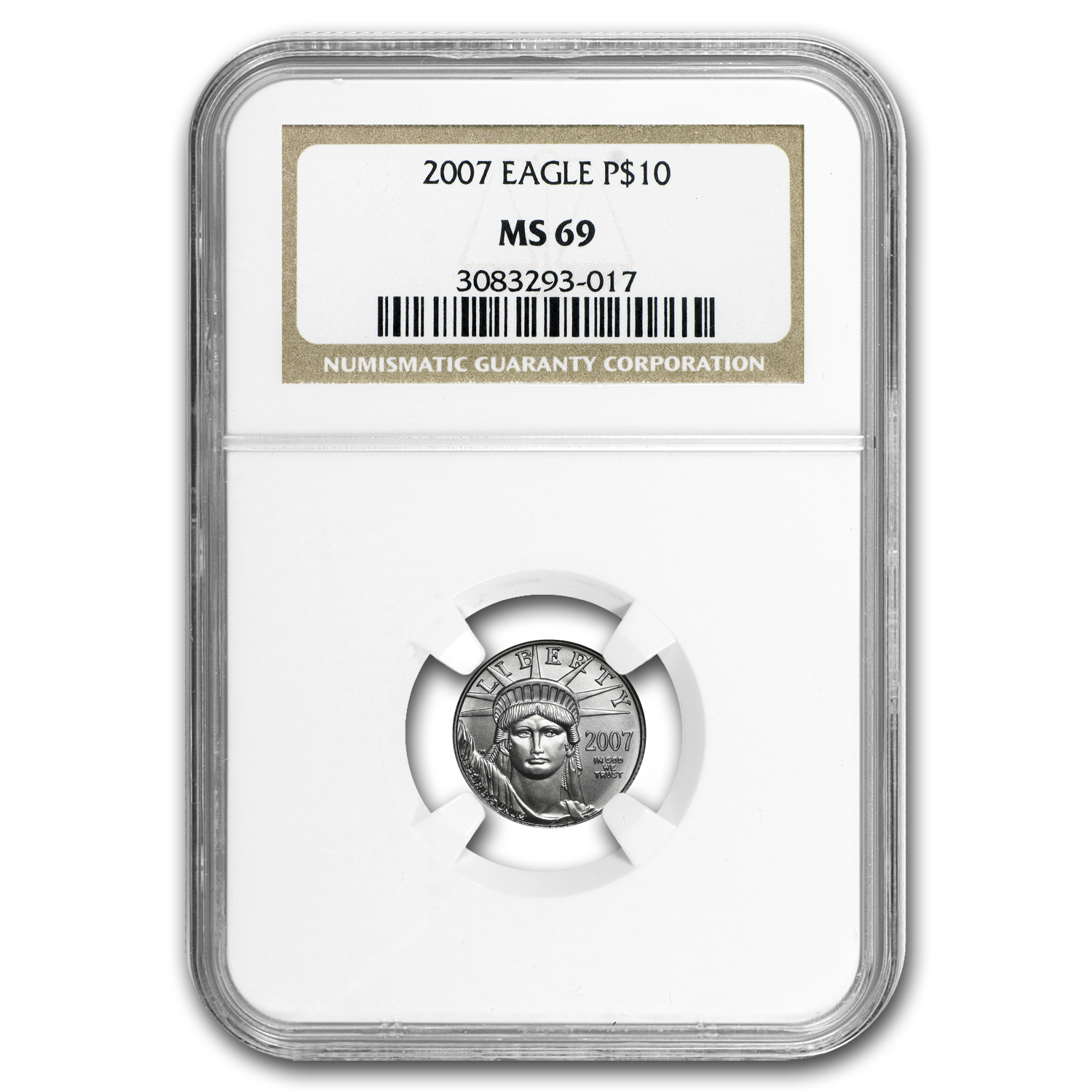 2007 1/10 oz Platinum American Eagle MS-69 NGC