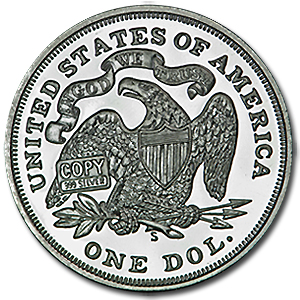 2 oz Silver Round - Seated Liberty Dollar (Replica)