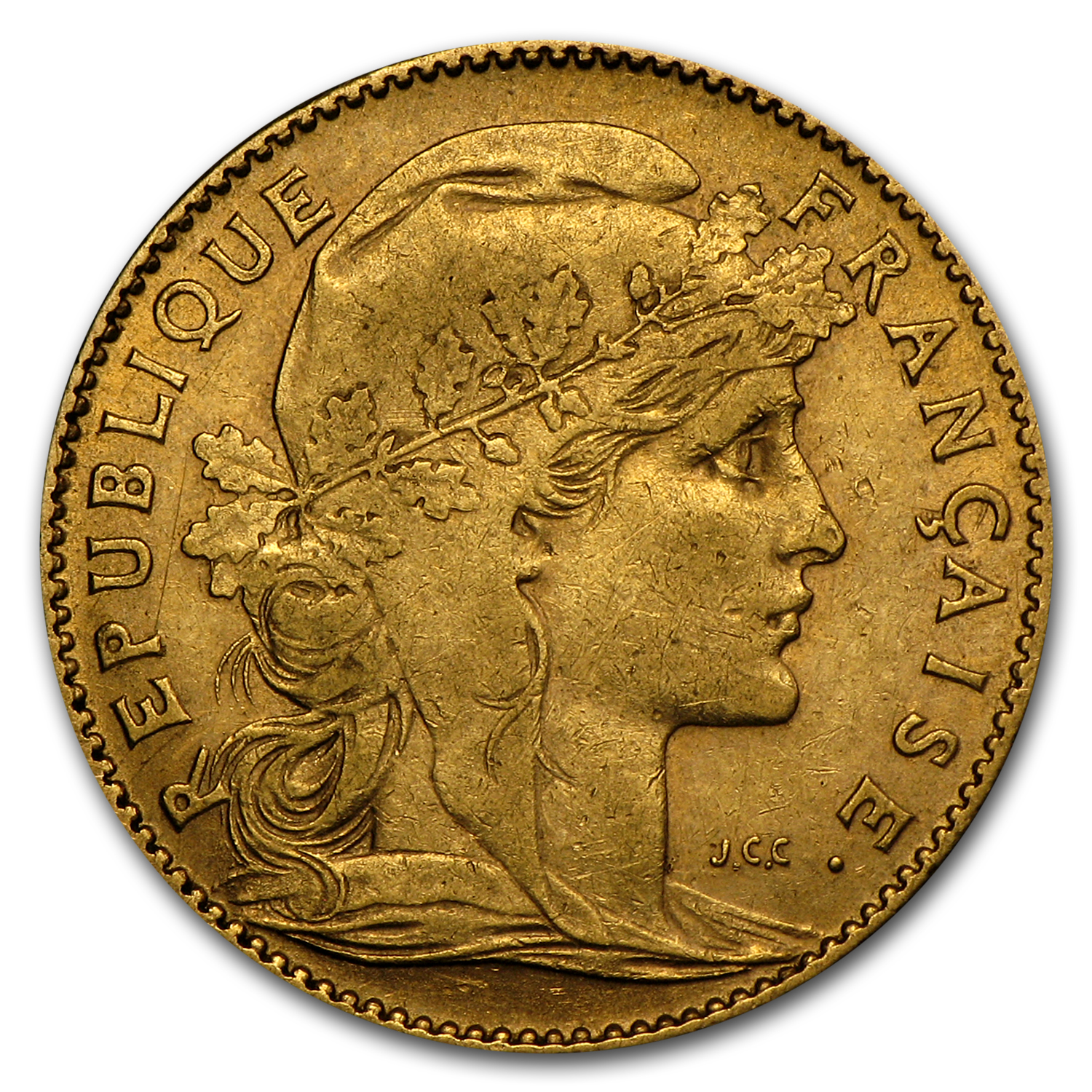 France Gold 10 Francs (Rooster) (Average Circulated)