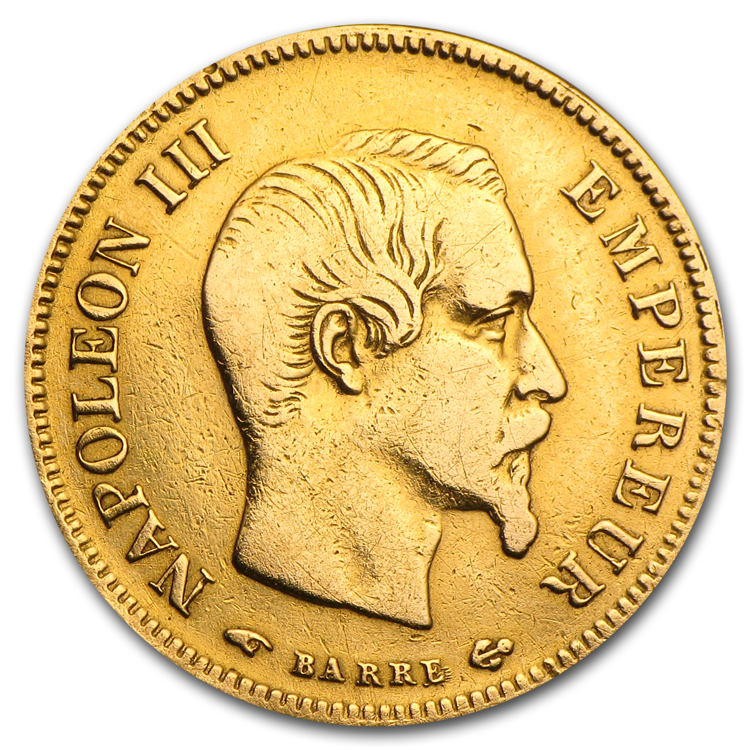 1854-1860 France Gold 10 Francs Napoleon III Bare Head Avg. Circ.