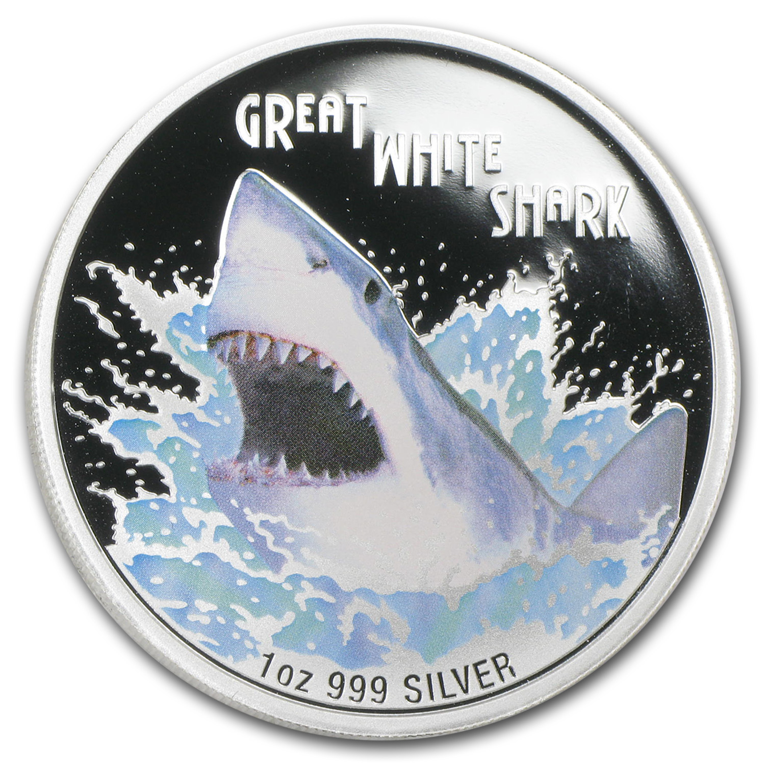 2007 Tuvalu 1 oz Silver Great White Shark Proof