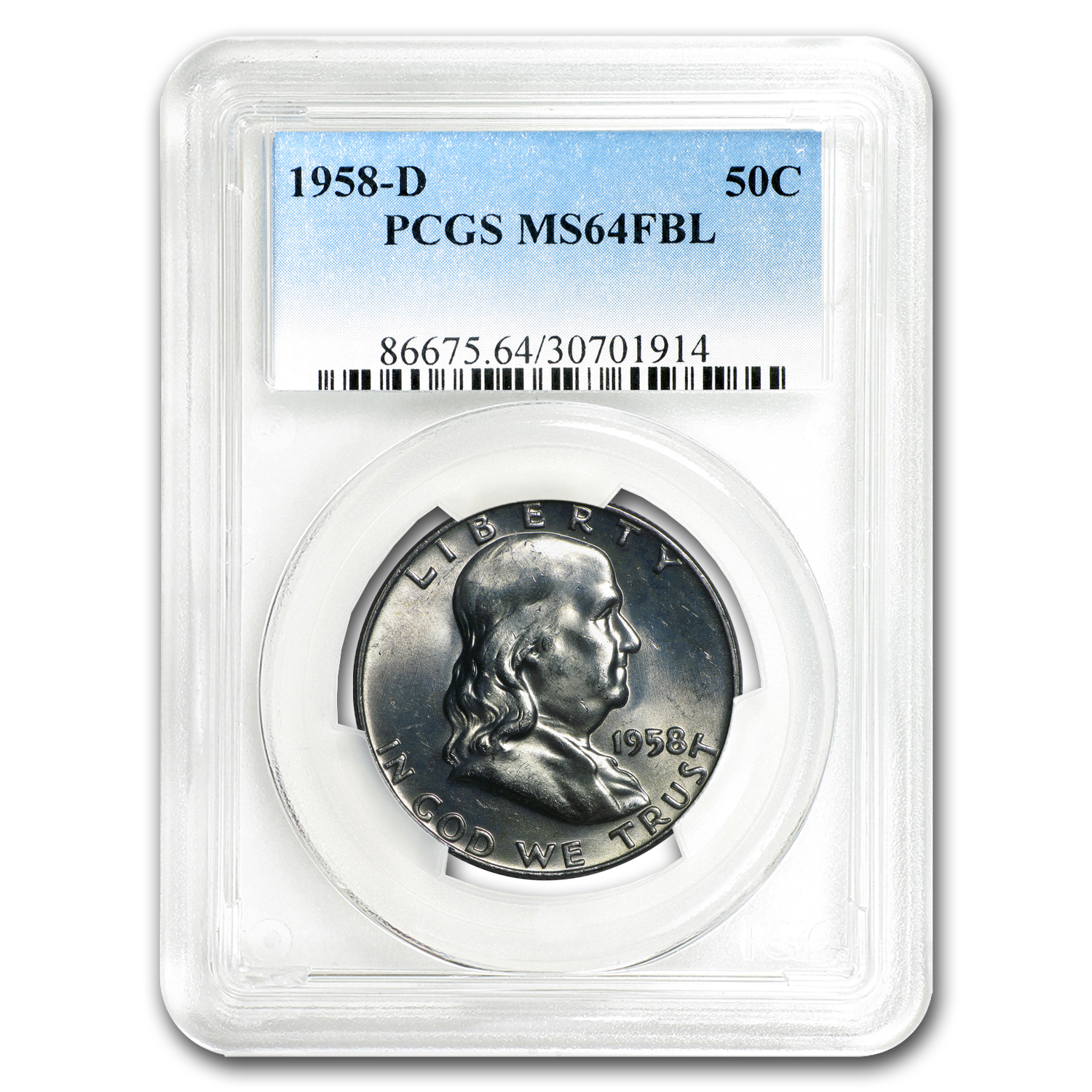 1958-D Franklin Half Dollar MS-64 PCGS (FBL)