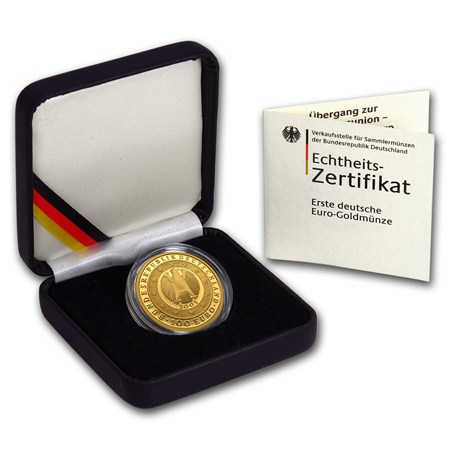 2002 Germany 1 2 Oz Gold 100 Euro Introduction Of The Euro