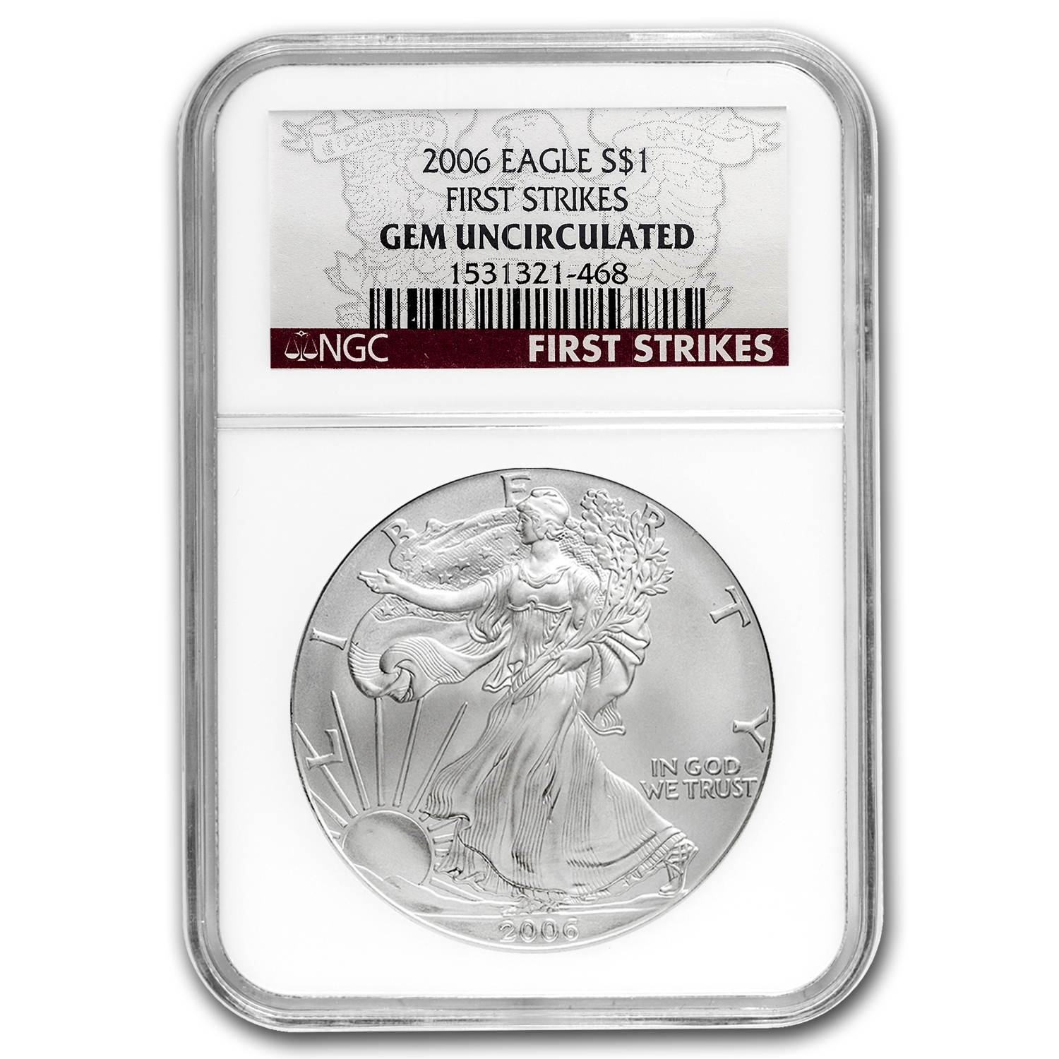 2006 Silver American Eagle Gem Unc NGC (First Strike)