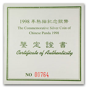 1998 China 1 kilo Silver Panda Proof (w/COA)
