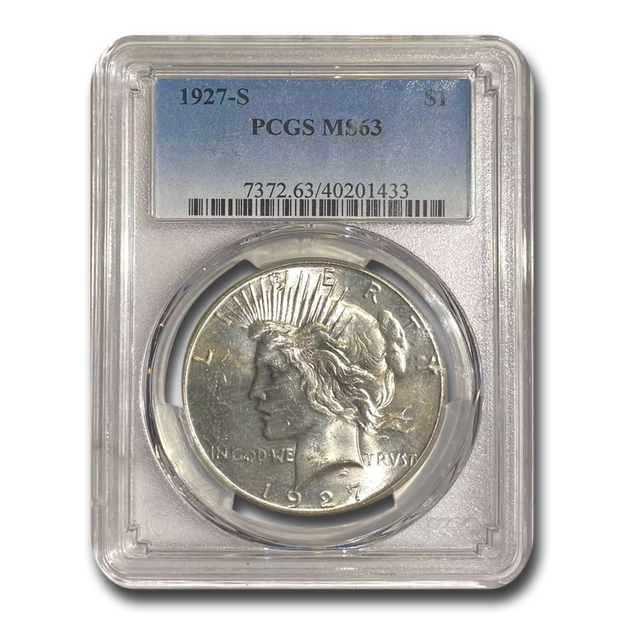 1927-S Peace Dollar MS-63 PCGS