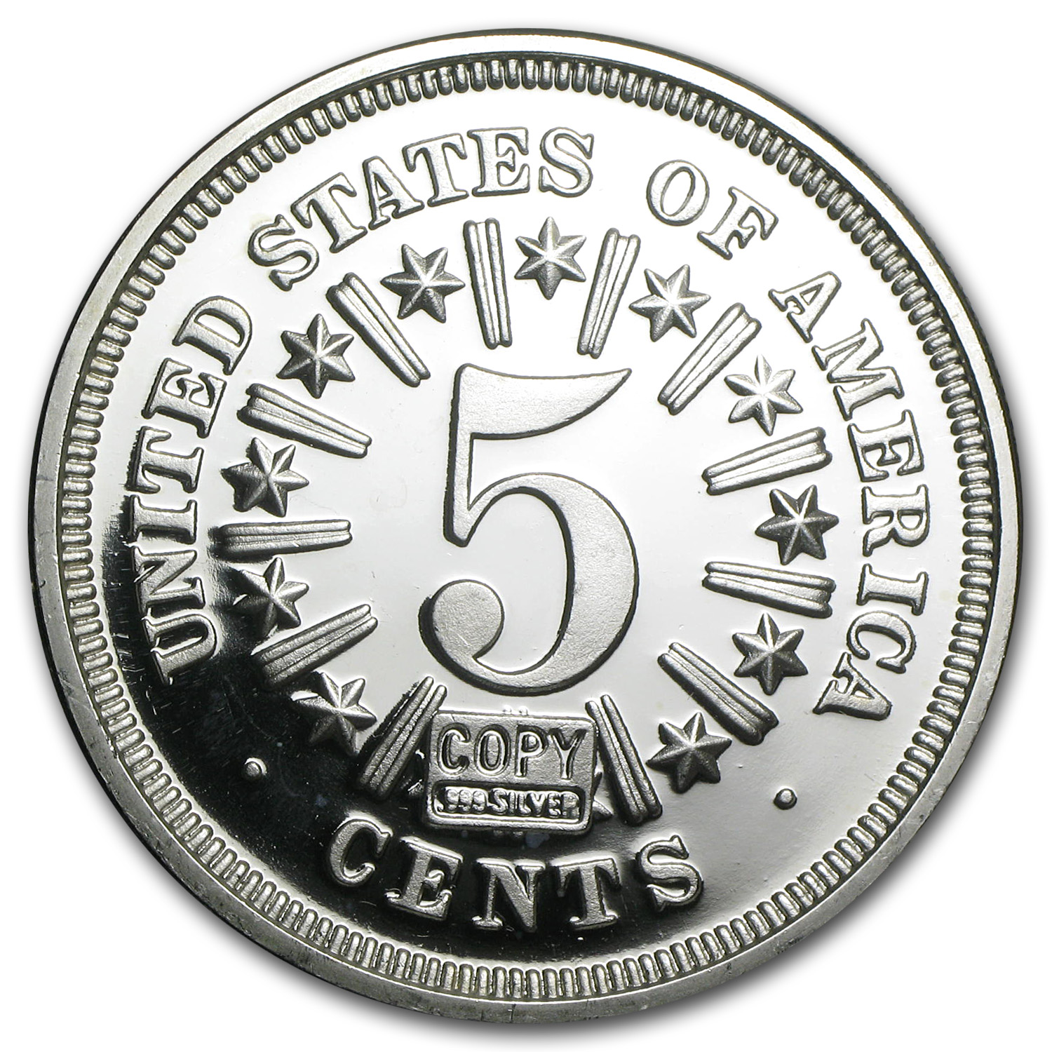 2 oz Silver Round - Shield Nickel (Replica)