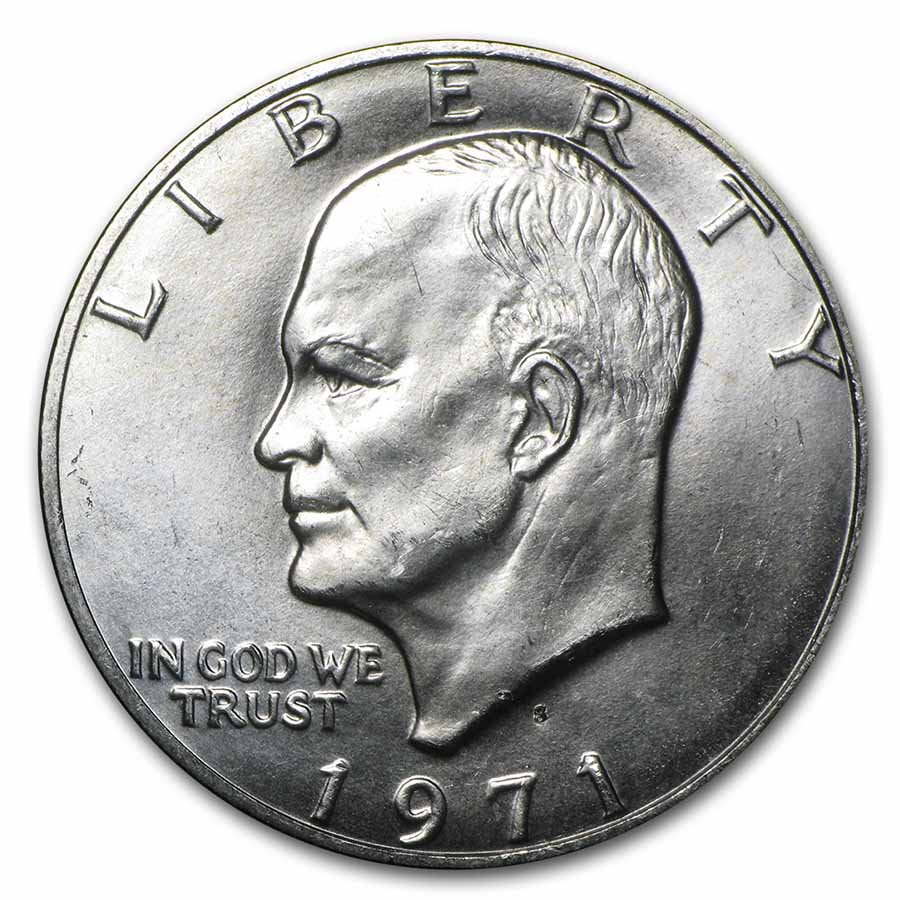 1971-S 40% Silver Eisenhower Dollars 20-Coin Roll BU