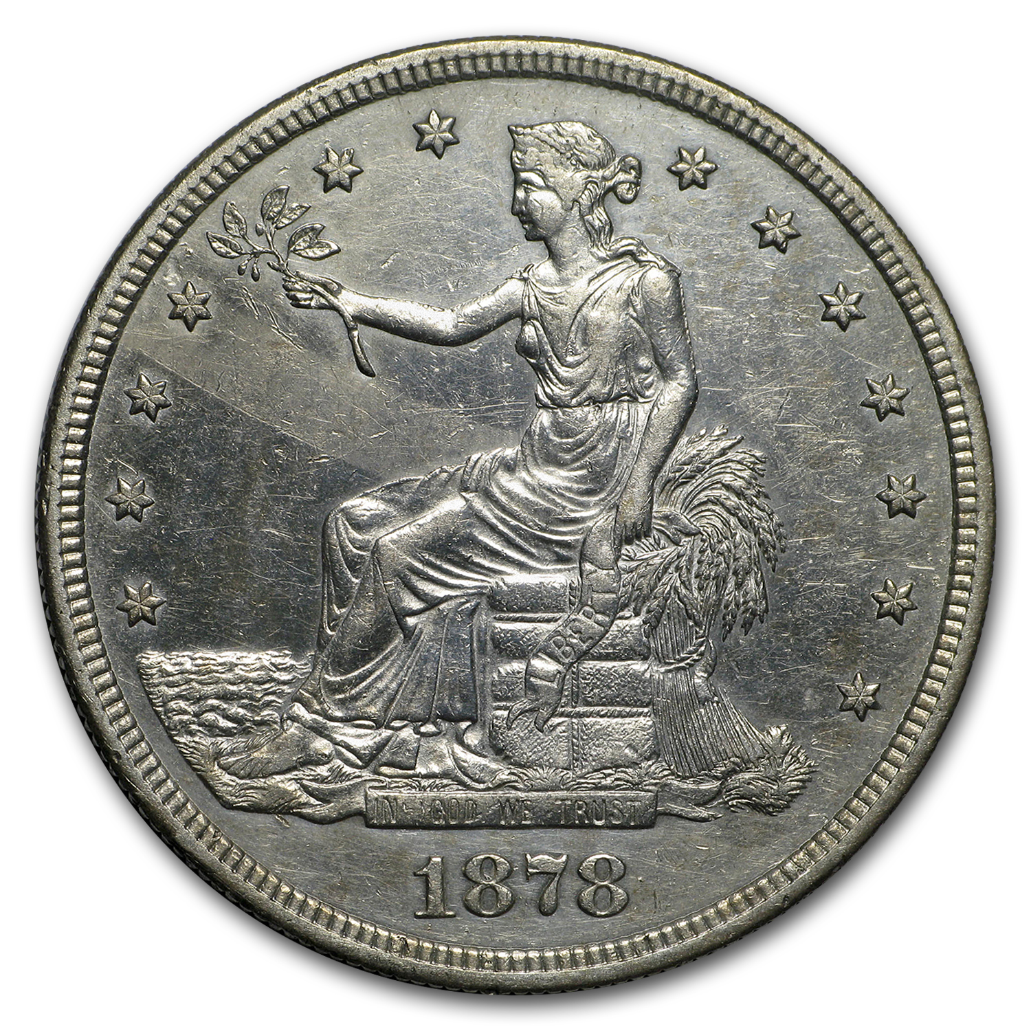 1878-S Trade Dollar AU Details (Cleaned)