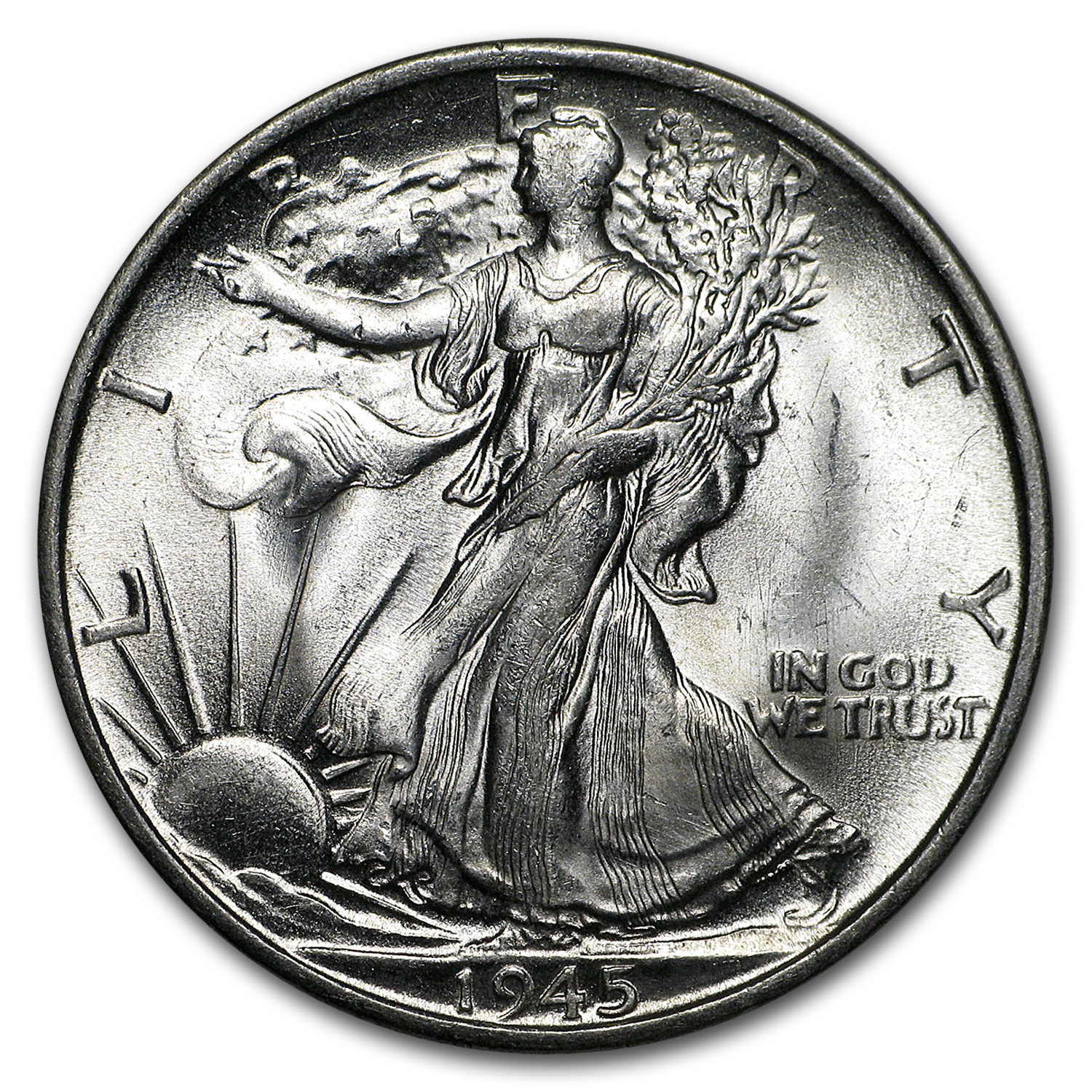 1945-S Walking Liberty Half Dollar BU