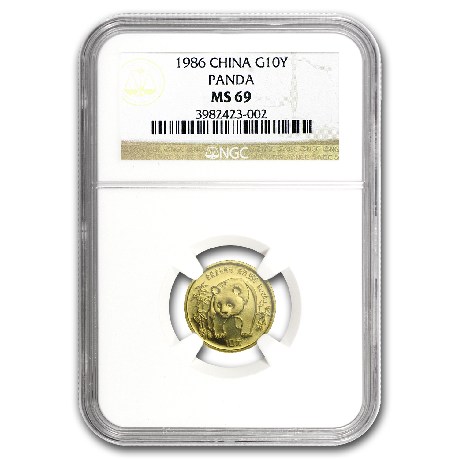 1986 China 1/10 oz Gold Panda MS-69 NGC