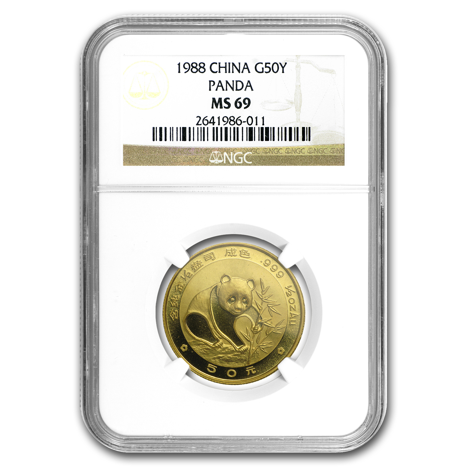 1988 China 1/2 oz Gold Panda MS-69 NGC