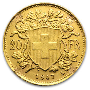 Switzerland 20 Franc Gold Coins (Off Quality)