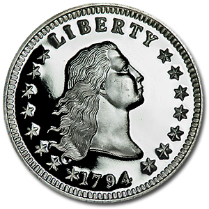 2 oz Flowing Hair Dollar (Replica) Silver Round .999 Fine