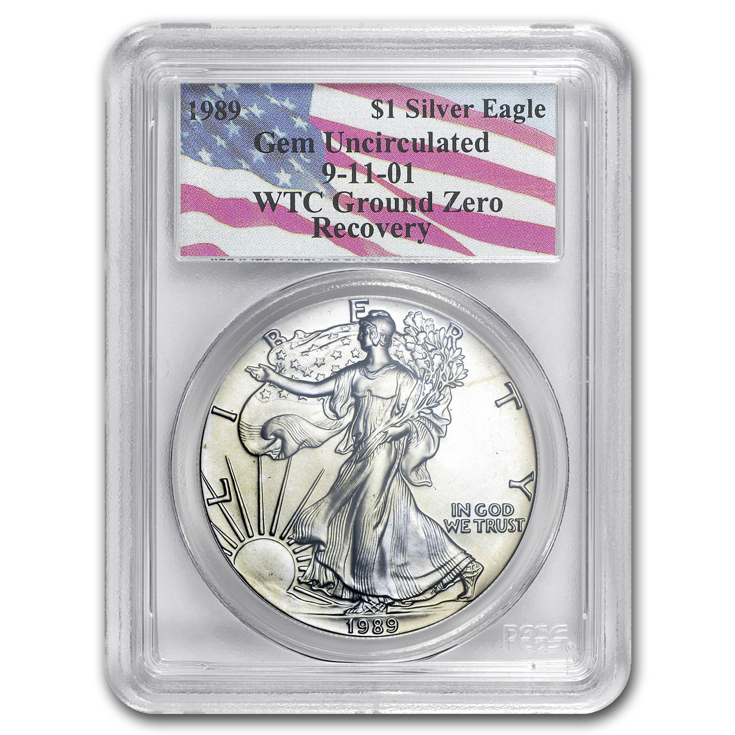 1989 Silver American Eagle Gem Unc PCGS (World Trade Center)