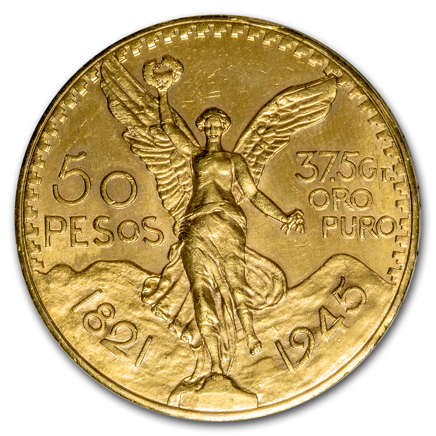 1945 Mexico Gold 50 Pesos AU