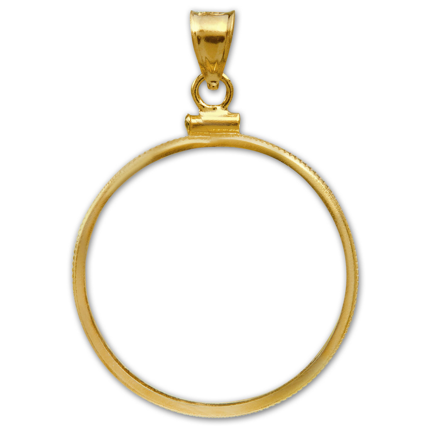 14K Gold Screw-Top Plain-Front Coin Bezel - 32 mm