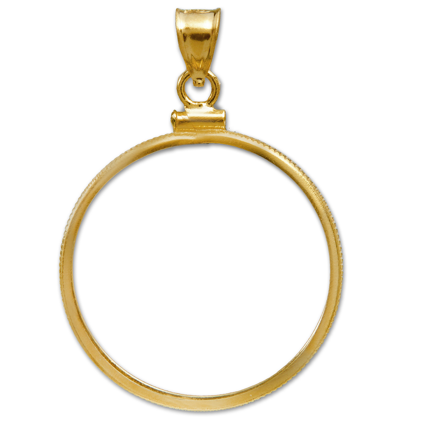 14K Gold Screw-Top Plain-Front Coin Bezel - 27 mm