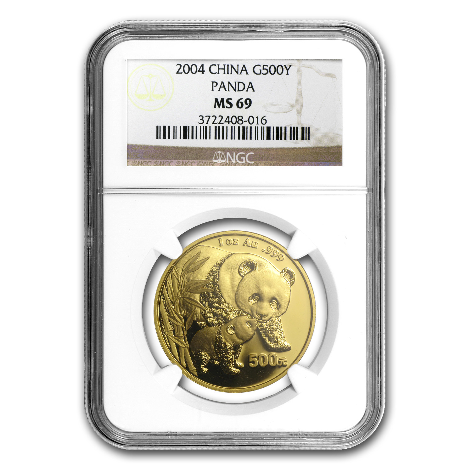 2004 China 1 oz Gold Panda MS-69 NGC