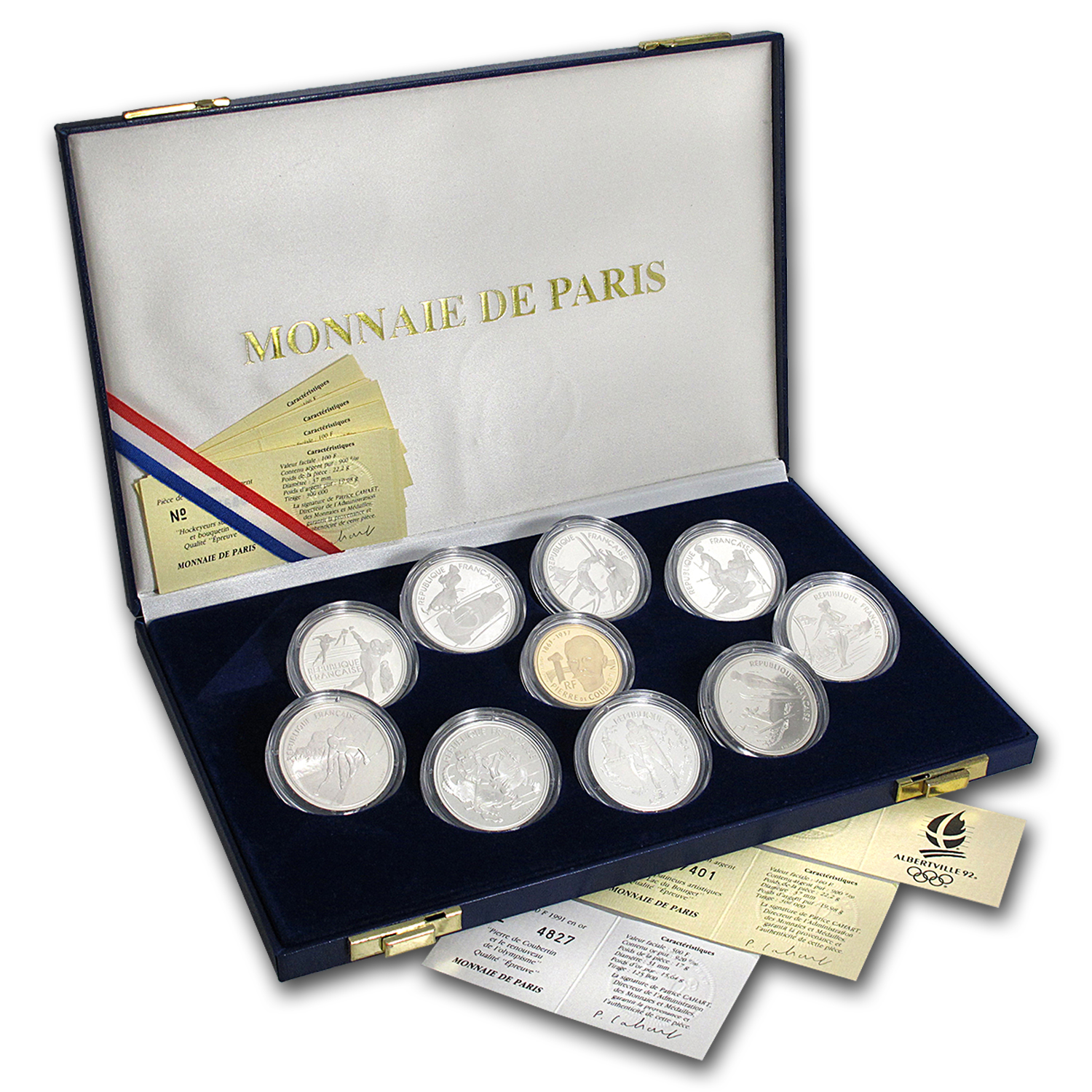 1992 France 10-Piece Set Proof Albertville Olympics